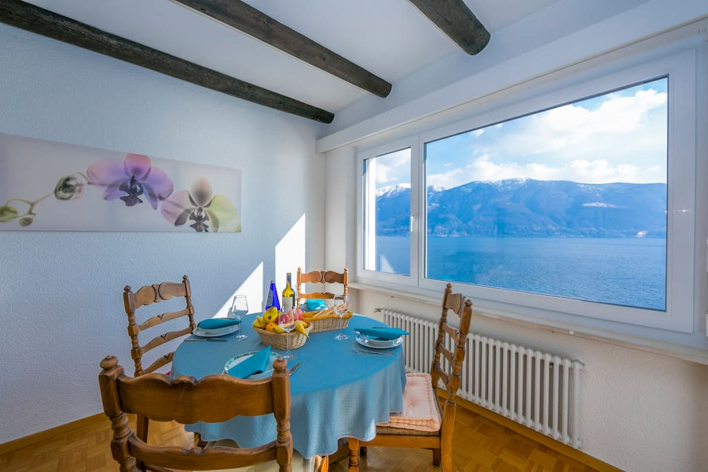 dining table with lake view window