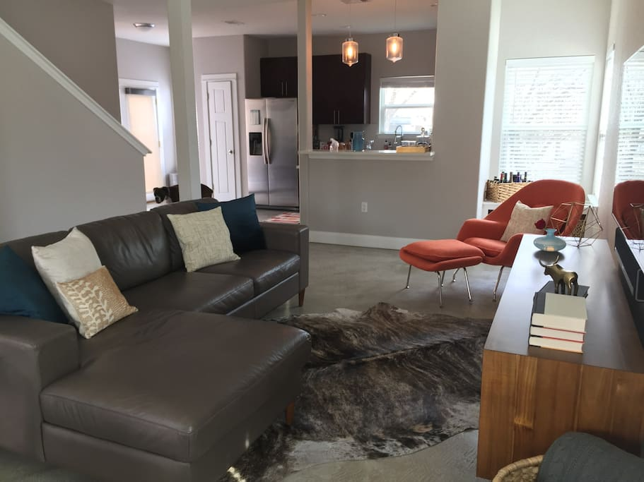 """Open floorpan (new 65"""" Samsung LCD TV with cable, HBO and Netflix not shown)"""