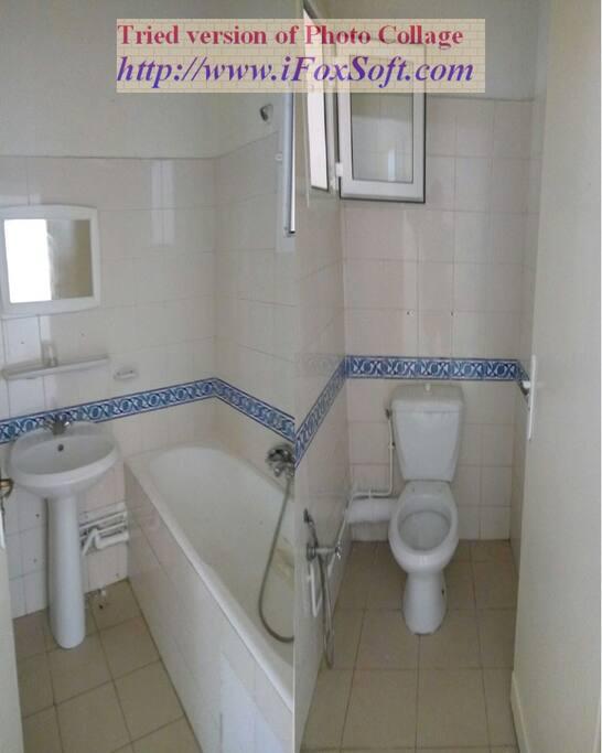 Salle de bain et toilette séparés