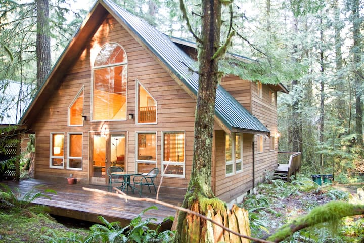 Rustic Mountain Retreat ~ Pet Friendly, Private Hot tub, Wood Fireplace, WIFI