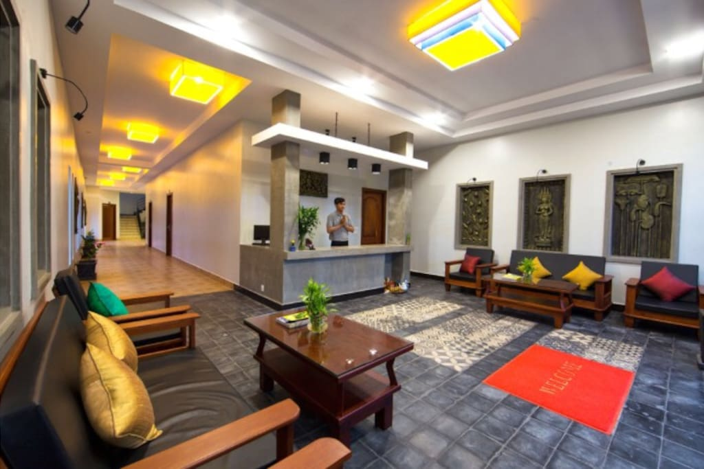 Comfortable lobby with friendly receptionist