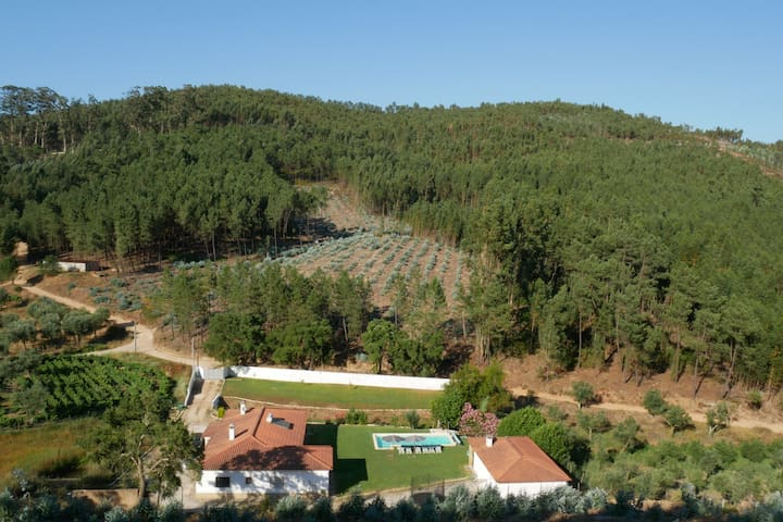 Villa isolada com piscina, amplo jardim e paz
