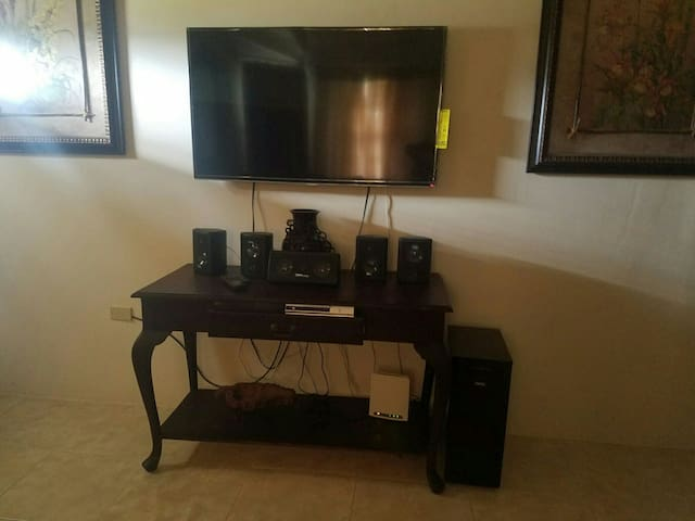 Entertainment system in the living room. with over a thousand cable channels and wifi