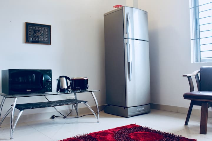Refrigerator, Microwave, Toaster, Hot Water Kettle