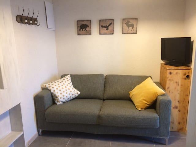 Un canapé-lit se trouve en face de la cuisine. Depuis la vous pouvez vous relaxer avec un bon livre ou devant la télévision.