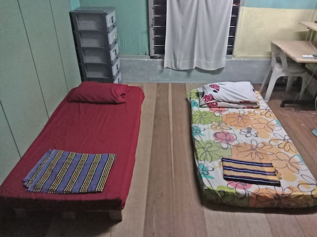 Wood Pallet Room with 3 Separate Beds