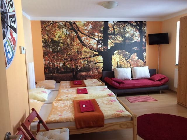 Fully equipped flat by main bus and train terminal