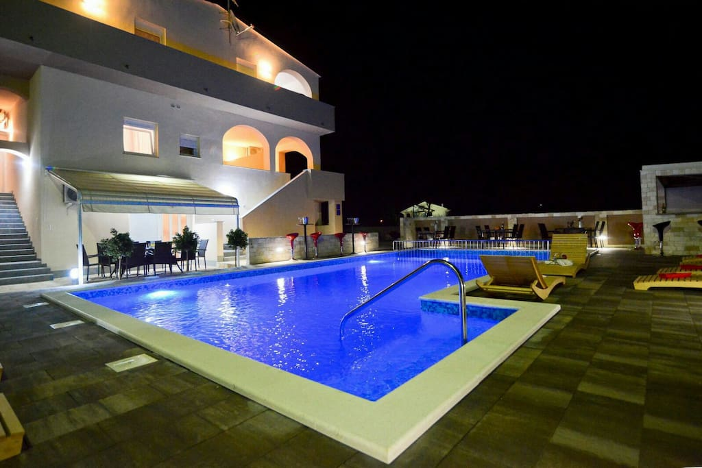 House and swimming pool by night...pool with hydromassage