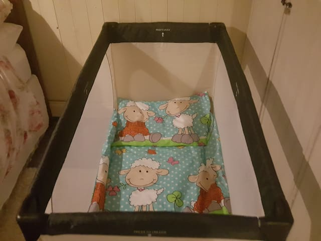 Travel cot available for younger guests