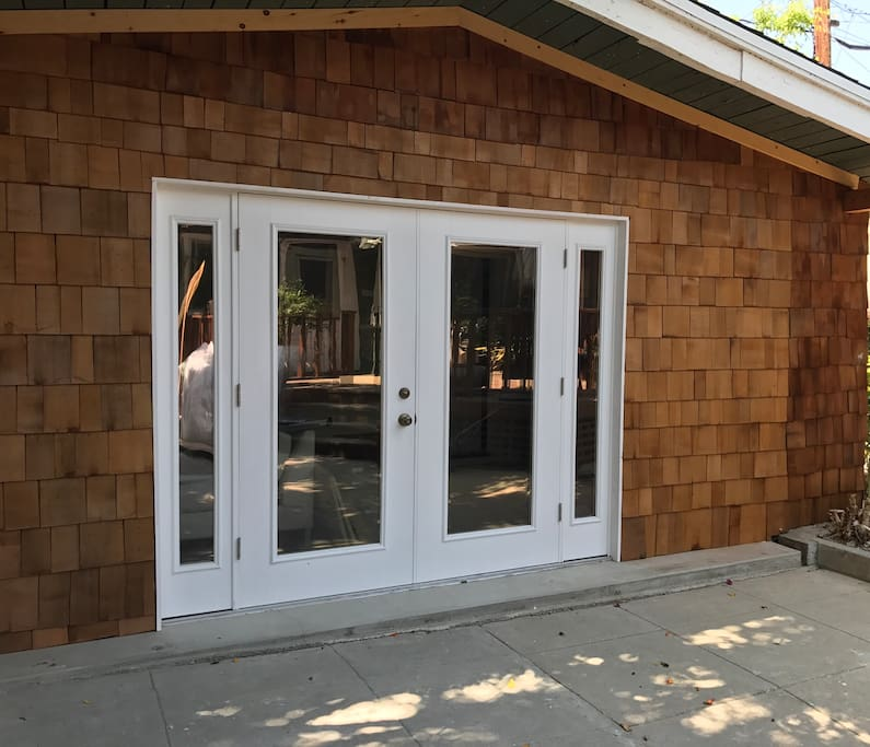 Entrance through french doors