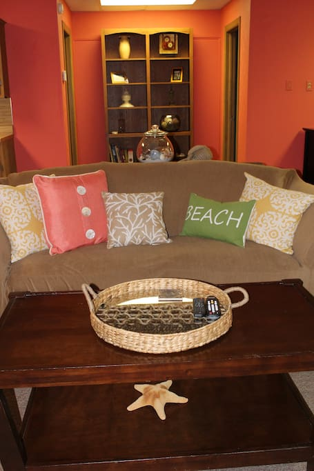 Relax on the couch with a book or enjoy Wi-Fi & Cable TV