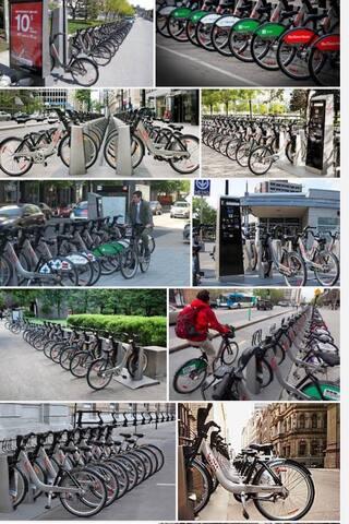 Bixi location de vélo à 5 mn à pied de l'appartement  Rent your bike at 5 mm to walk