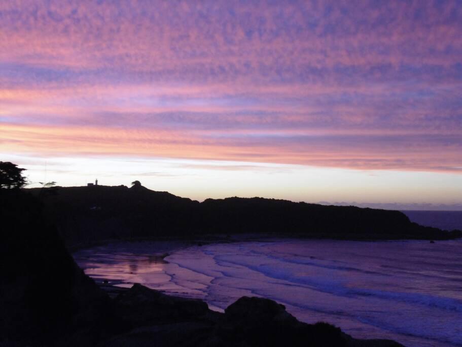 sunset overlooking the beach.