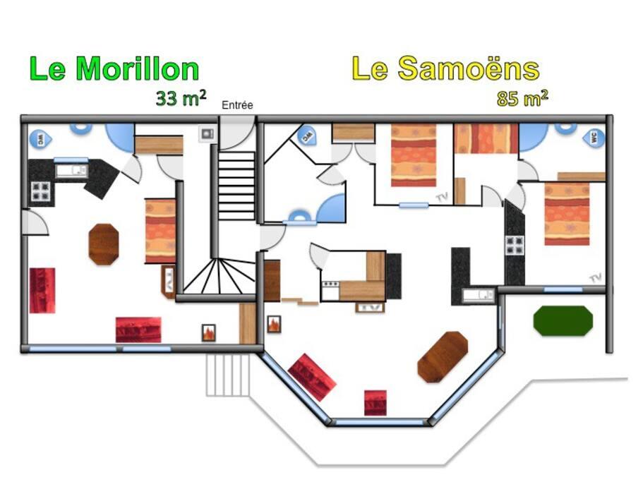 """Plan des 2 volumes : """"le Samoens"""" 85 m² + """"le Morillon"""" 33 m²"""