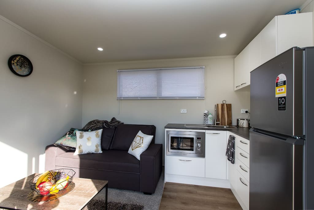 Well equipped kitchen and comfortable living area