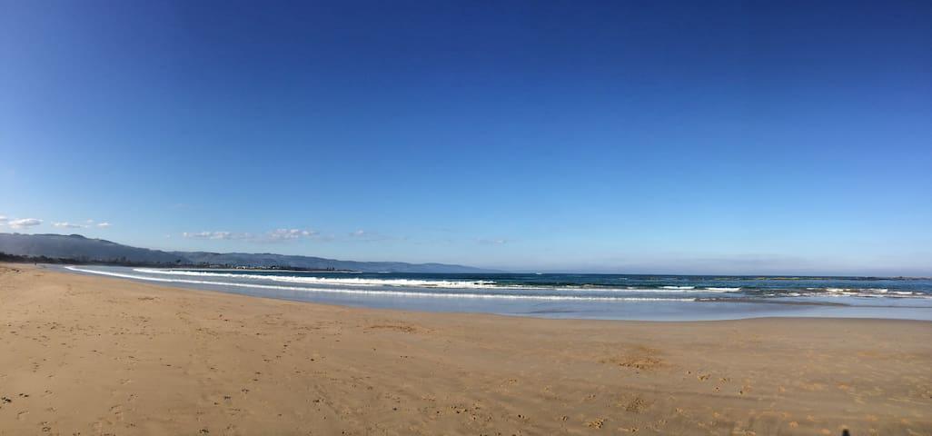 Surf beach a few minutes walk.