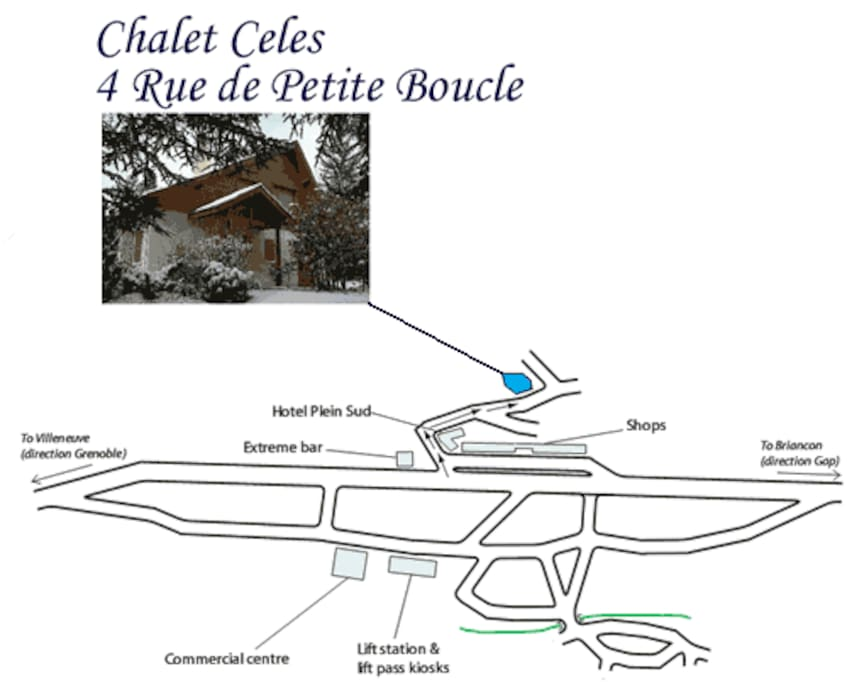Chalet location in respect to slopes