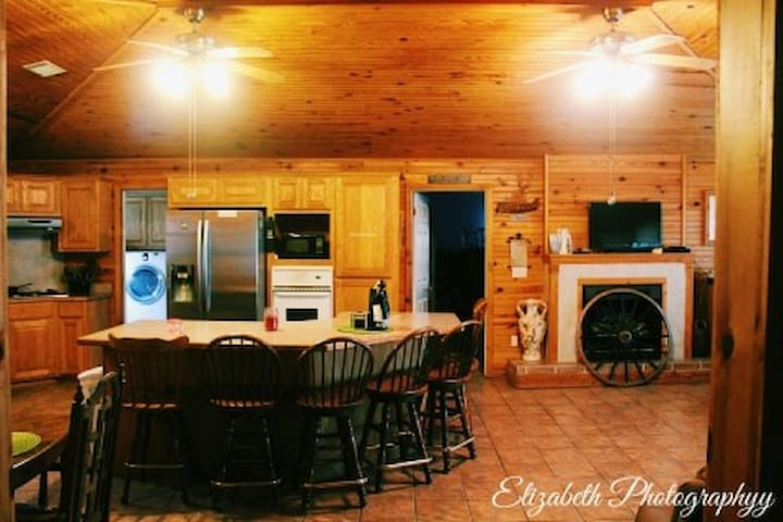 There is plenty of extra setting at the Kitchen Island and you have plenty of room to get around in a Wh/ch.
