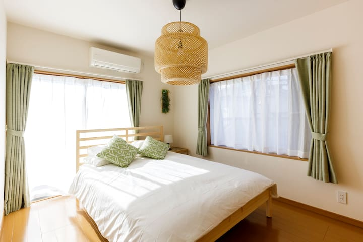 We have 3 bed rooms in the house. This bed room on the 2nd floor is a double bed for 2.