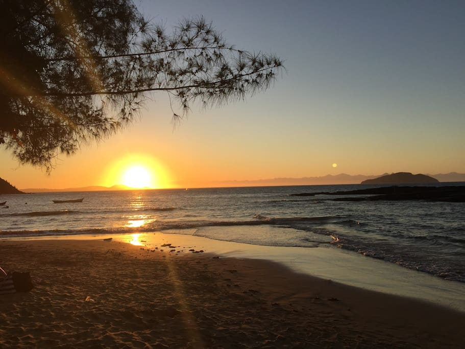 Sunset at Tartaruga Beach. 10min walking distance from our Beach Family-Villa in Buzios .