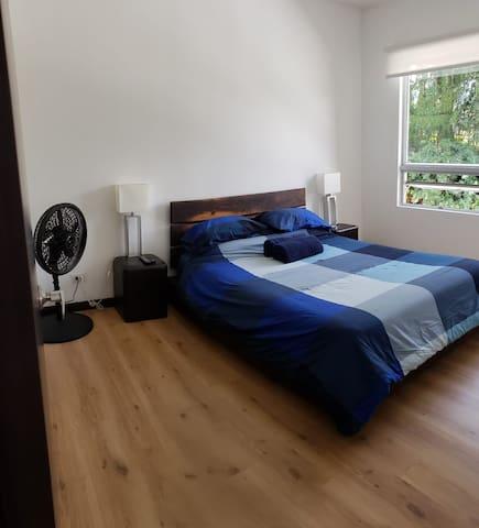 Bedroom with queen size bed overlooking park