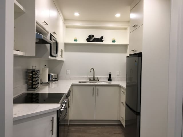 Brand new kitchen with beautiful handmade cabinetry