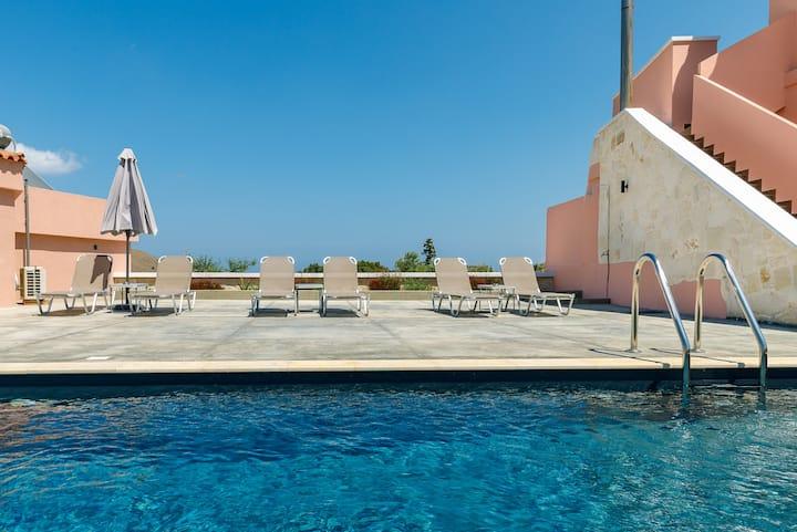 Georgioupoli Studio 2  with a pool and lake view!