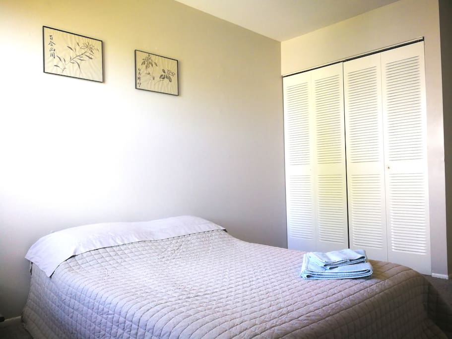 Full-size bed with Chinese Ink paintings and white large space closet.