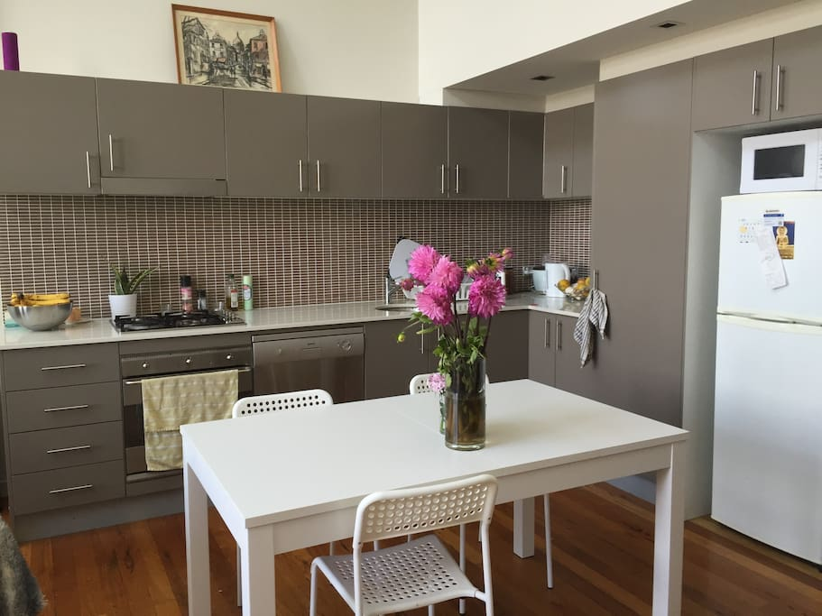 Fully stocked kitchen with gas oven/stove, dish washer & a multitude of fun appliances