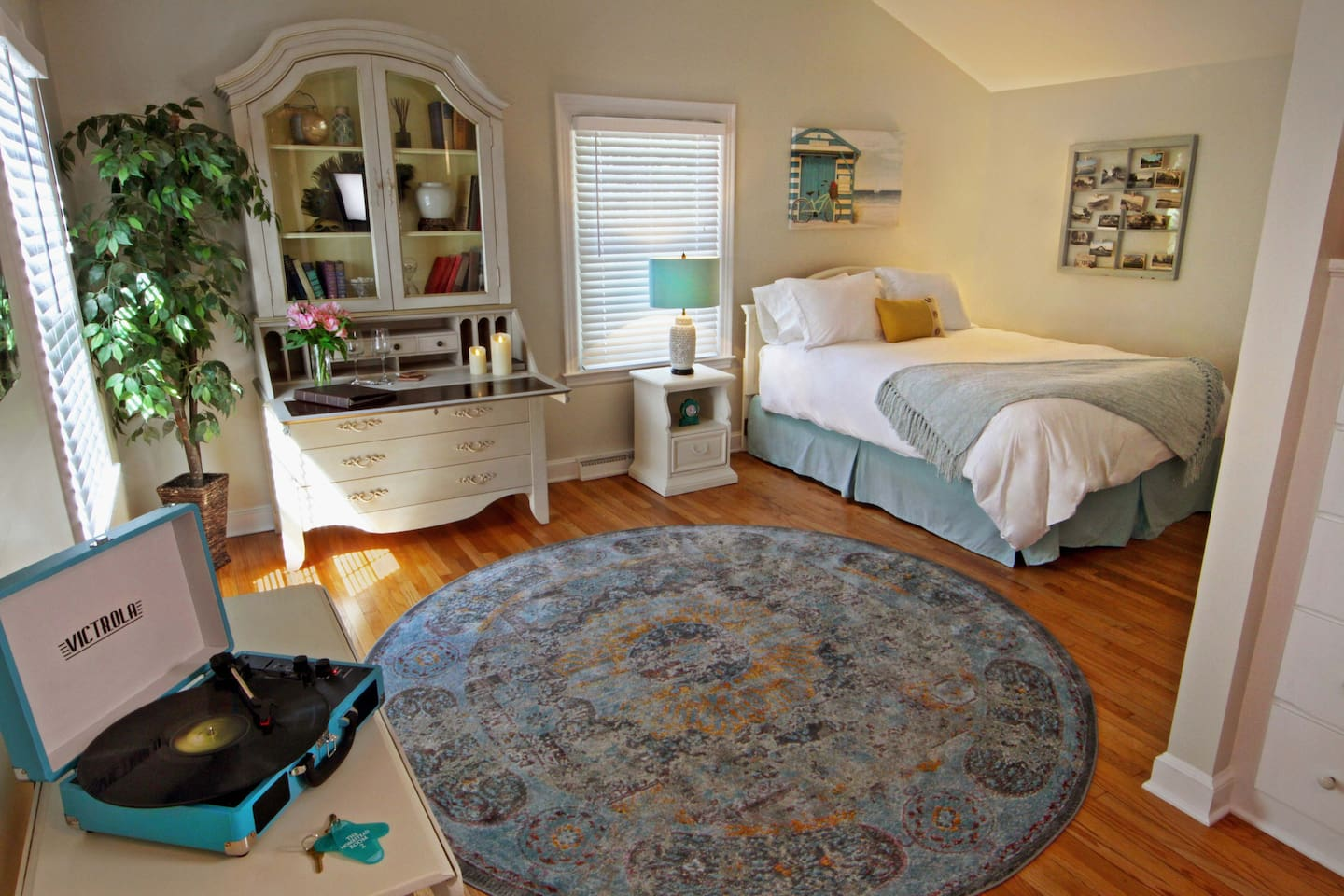 Room Two is located on our first floor, next to our shared living room space. It is a private bedroom with a private bathroom with a shower/bathtub.  The room is very bright and does have a private entrance if desired. It also has a small deck that leads to the private entrance.