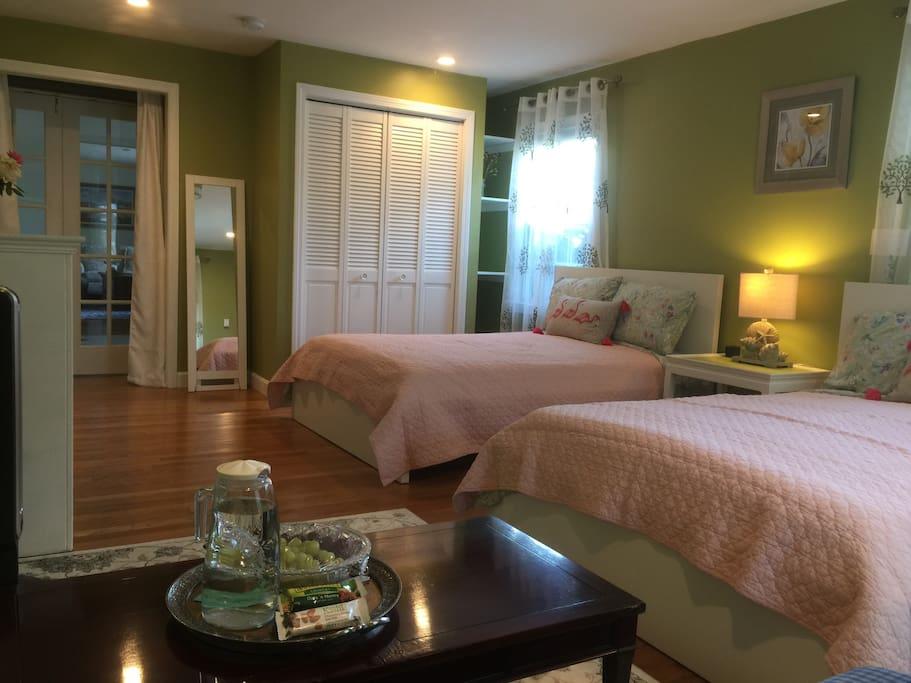 Cozy room with a big closet.
