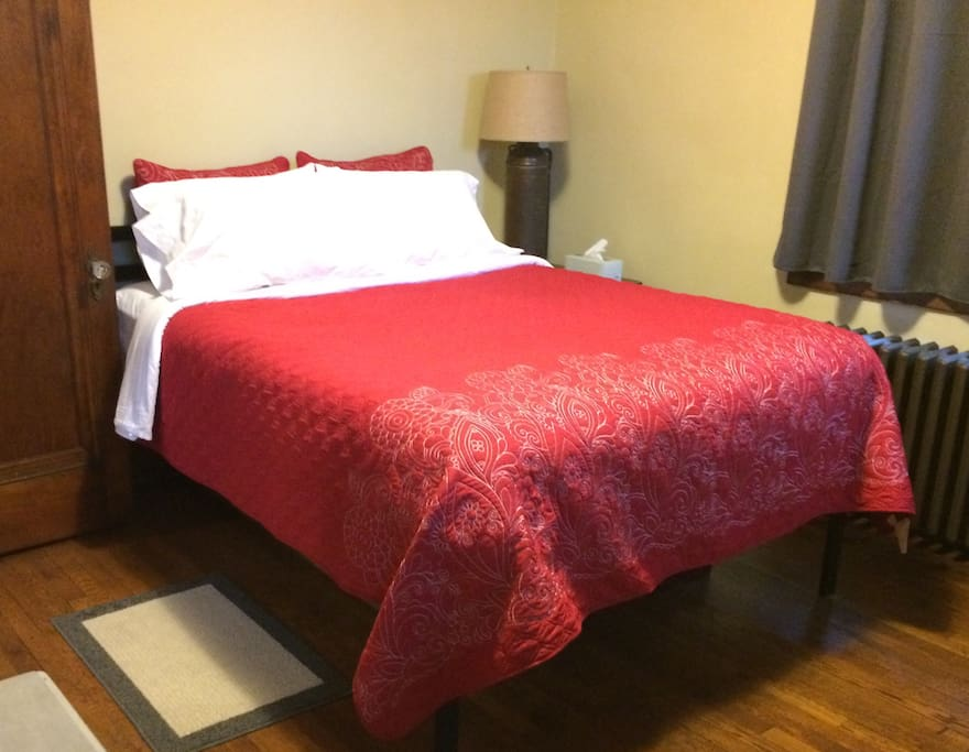 Bedroom Two::Queen bed, 100% cotton sheets and pillowcases, six pillows on each bed, bedside table