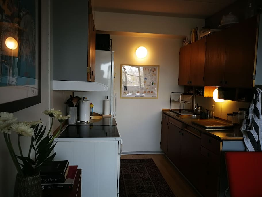 Small kitchen. It has everything you need, exept a dishwasher. You can use the spices, coffee, tea and everything