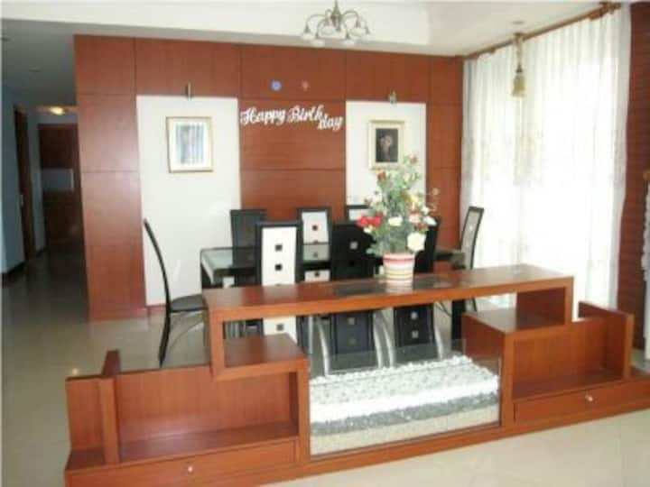 The flat is 65 m² and is located in a great