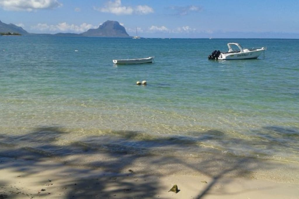 Beach and sea with view of Le Morne