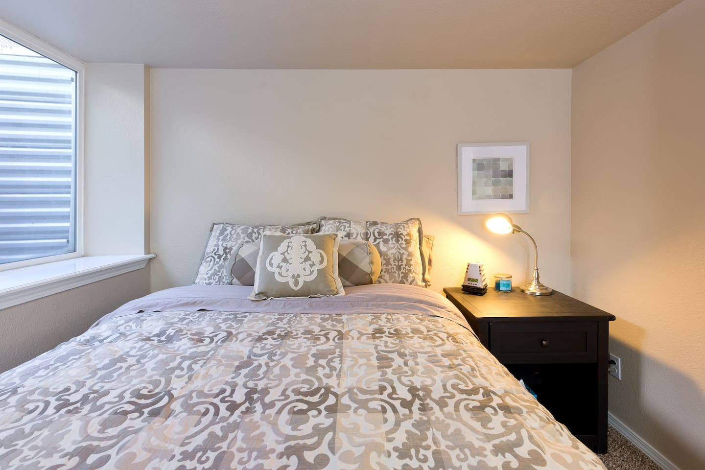 Welcome to our home!  A comfortable queen size bed in a quiet room awaits you!