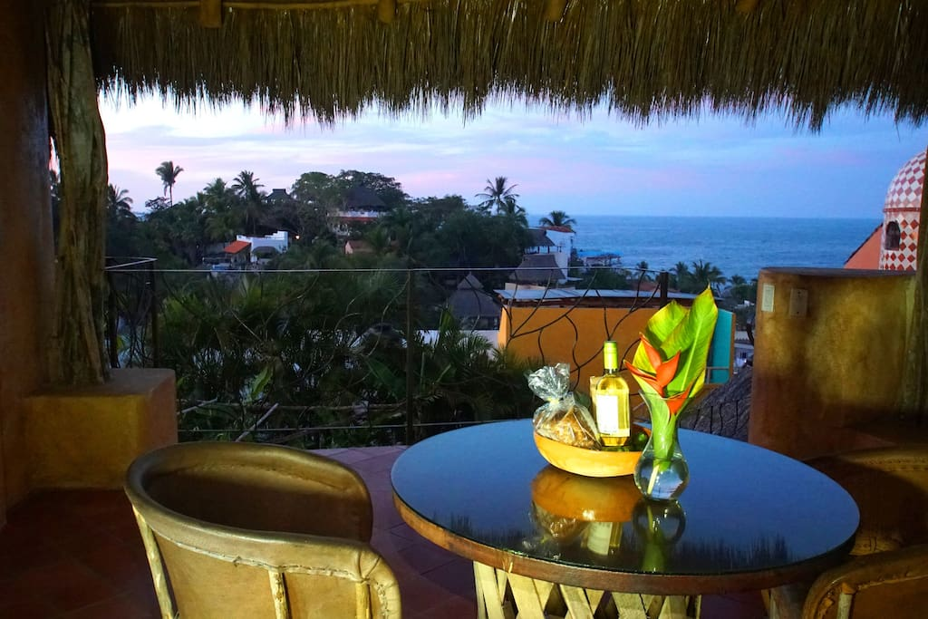 Experience beautiful ocean view sunsets from your private dinning area.