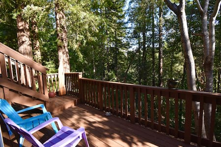 Studio Apt with Private Deck and Redwood Views