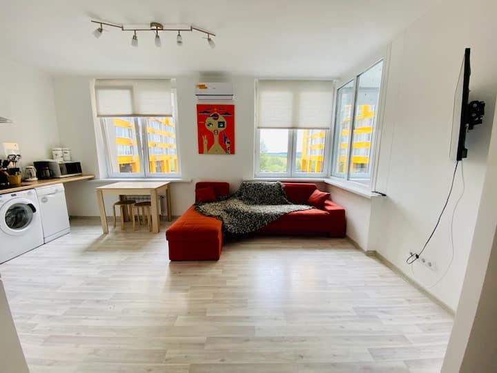 Светлая квартира с большими окнами