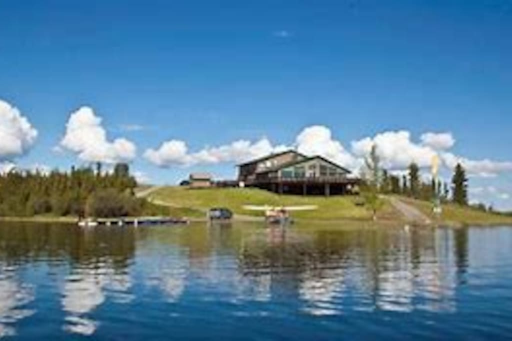 View of the lodge from the lake.