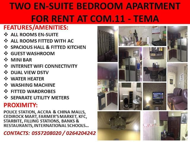 TWO FULLY FURNISHED EN-SUITE BEDROOMS APARTMENT