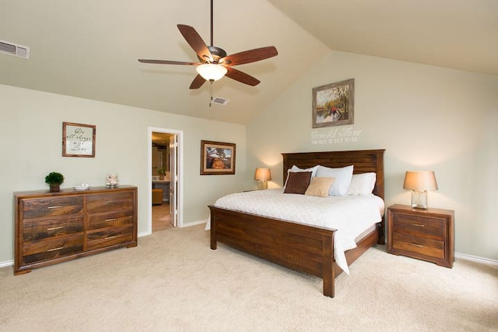 The master bedroom features an ensuite master bathroom.