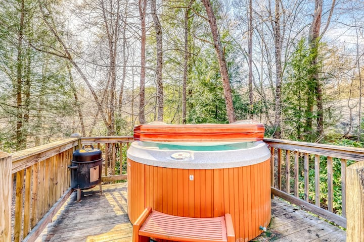 Lovely dog-friendly cabin w/ wood-burning stove, private hot tub, & free WiFi!
