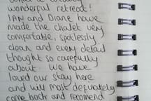 A lovely note left in our visitors book.