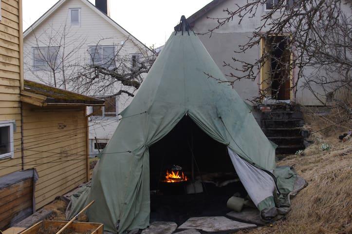 God plass for par i tradisjonsrik lavvu fra Nord norge