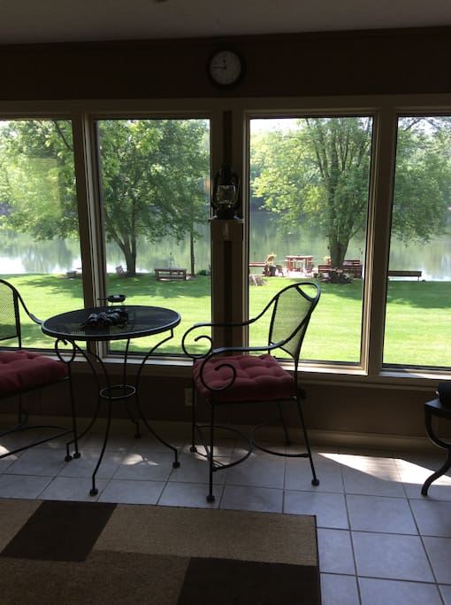 Enjoy morning coffee, while watching the river go by.