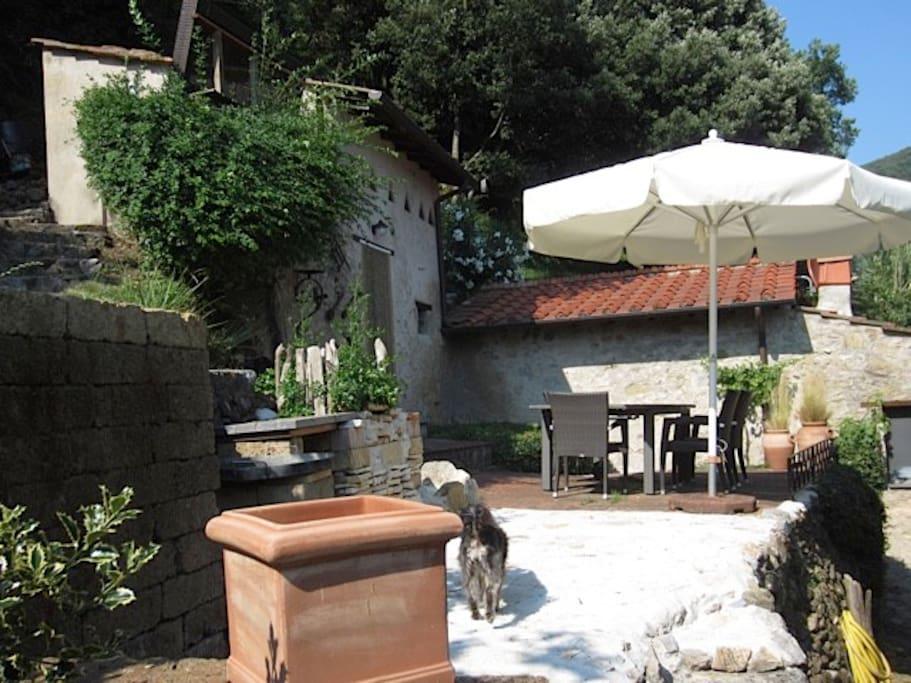 Terrasse mit Grillplatz/Eingang zum Bad