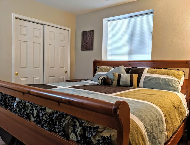 Spacious King bed with a pillow top mattress and heated mattress pad, ensure a great night's sleep.