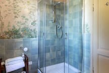 The bathroom with charming frescos