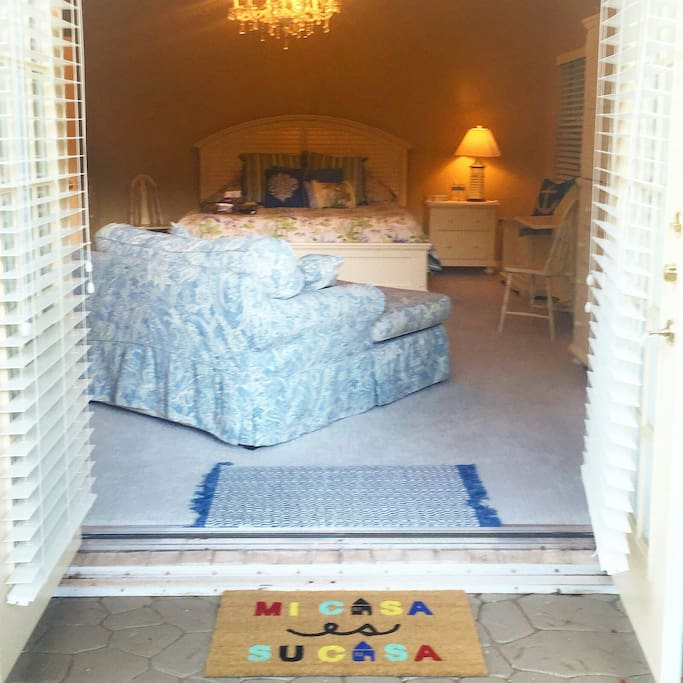 Your private entrance, with double French Doors,